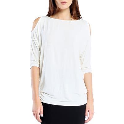 Petite Michael Stars Cold Shoulder Tee, Size One Size - White