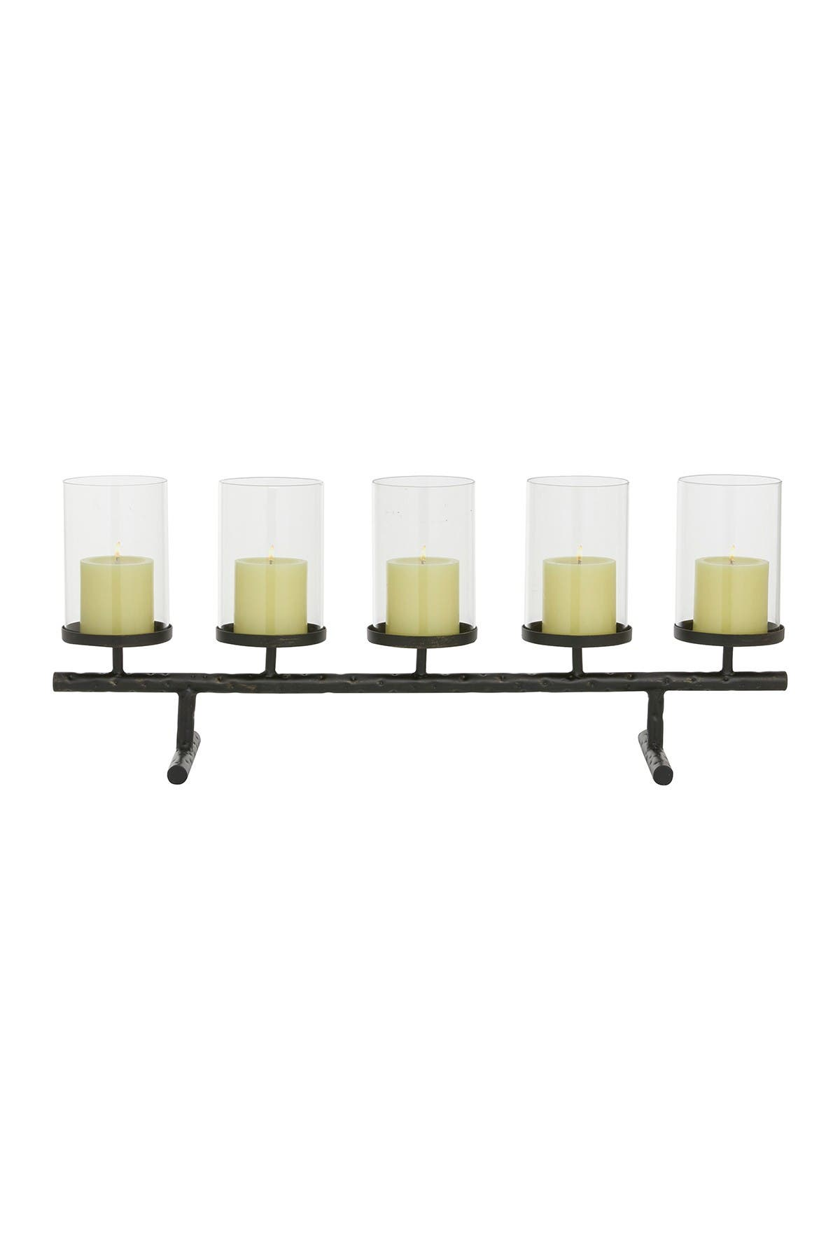 "Image of Willow Row Long Rectangular Hammered Metal And 5-Pillar Glass Candle Holder - 27.5"" X 11"""