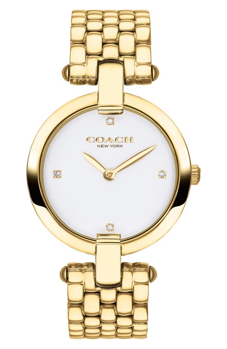 COACH Chrystie Bracelet Watch, 32mm, Main, color, GOLD/ WHITE/ GOLD