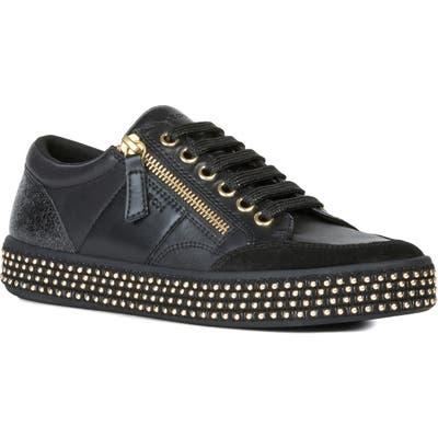 Geox Leelu Studded Sneaker, Black