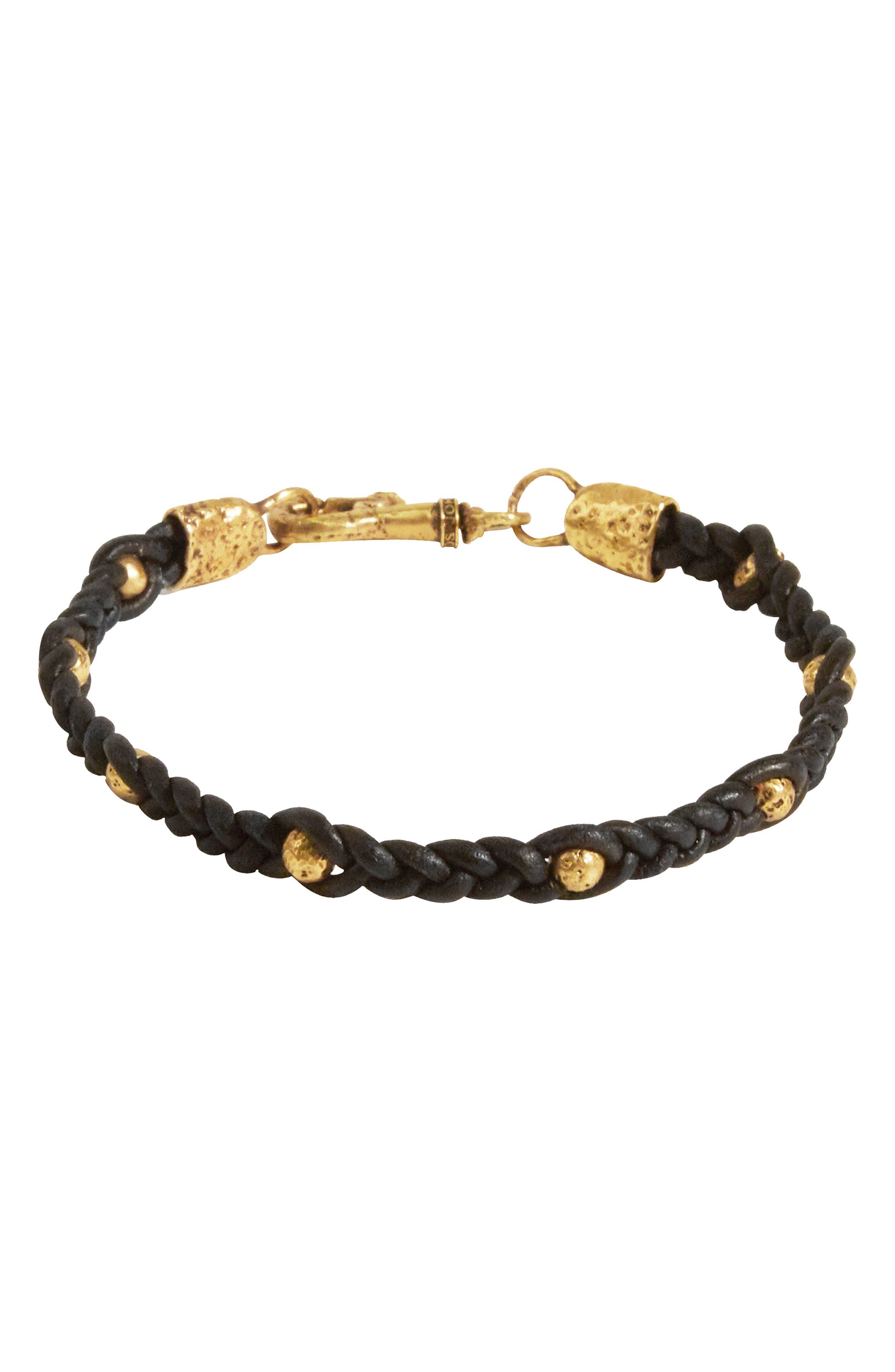 Skull Leather & Brass Bracelet