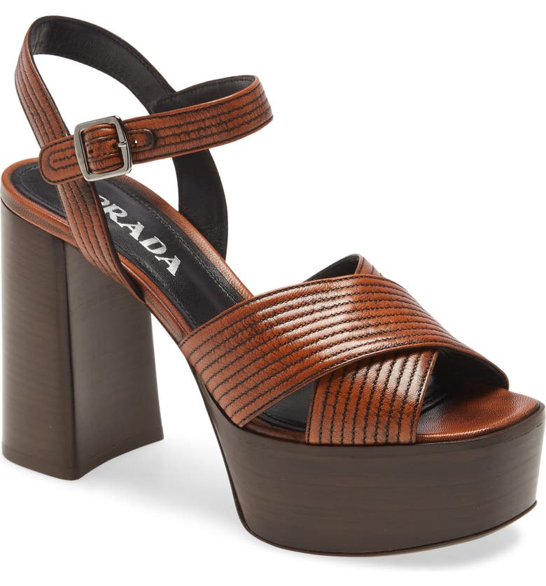 PRADA Leather Platform Sandal, Main, color, TABACCO