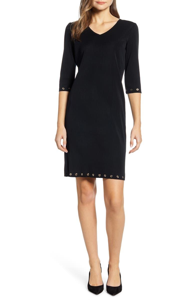 MING WANG Grommet Detail Sheath Dress, Main, color, BLACK