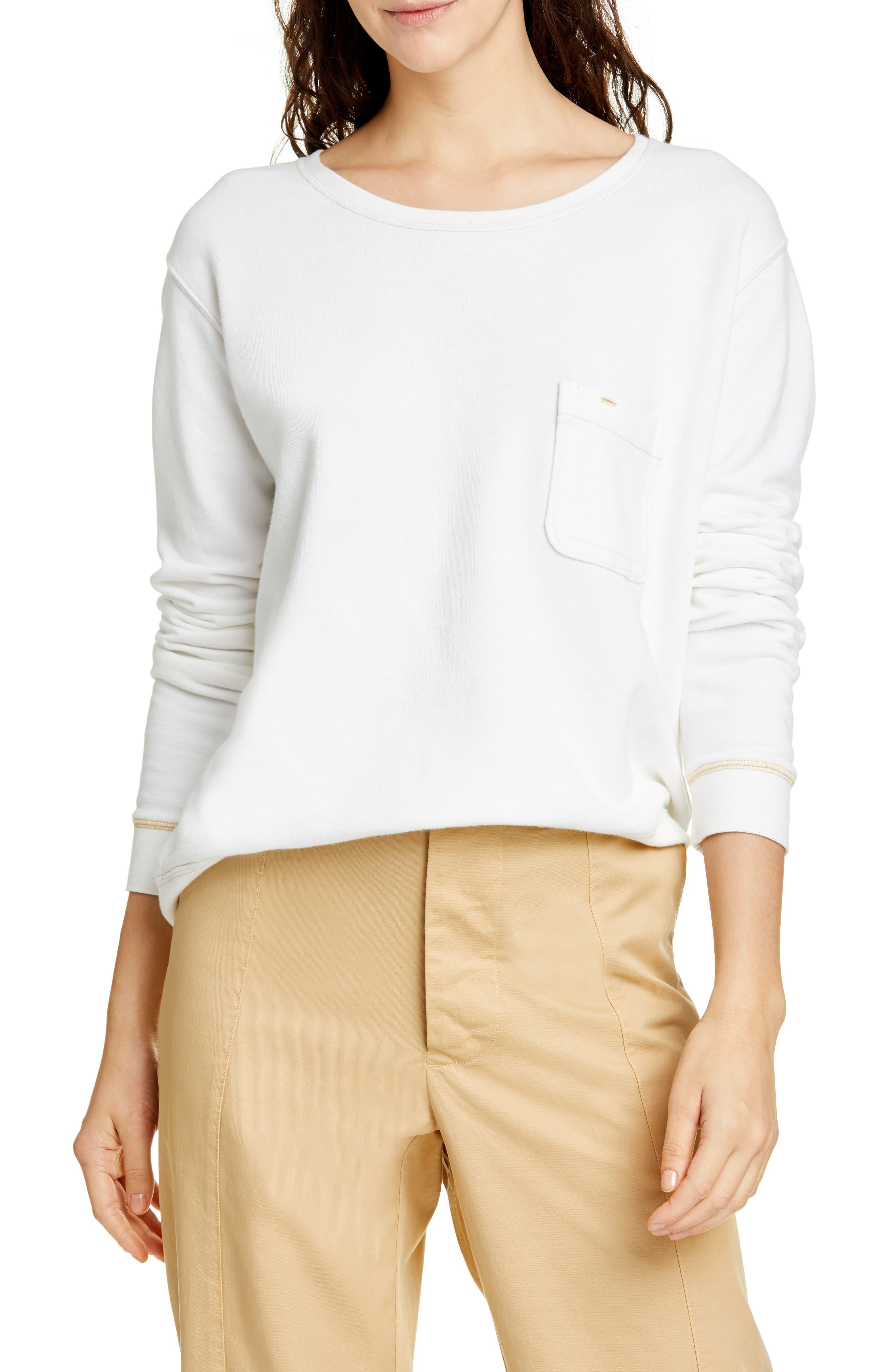 Alex Mill Fleece Pocket Sweatshirt, White