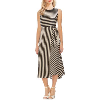 Vince Camuto Bay Stripe Side Tie Midi Dress, Black