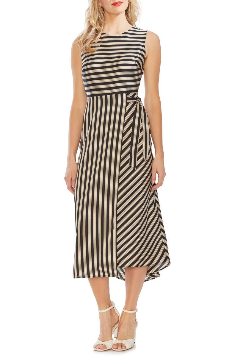Vince Camuto Bay Stripe Side Tie Midi Dress Nordstrom