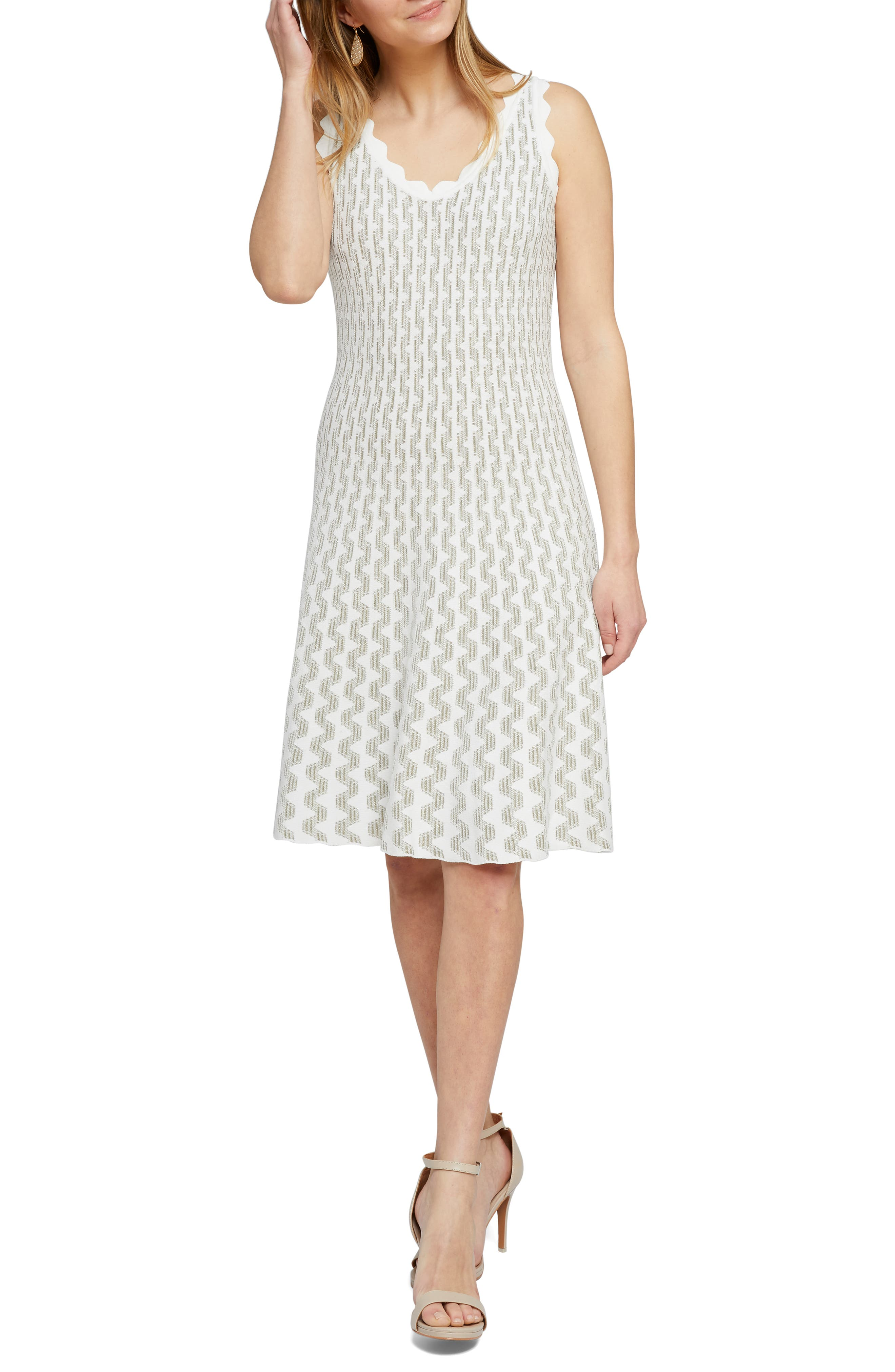 Petite Nic+Zoe Spring Fling Twirl Sweater Dress, White