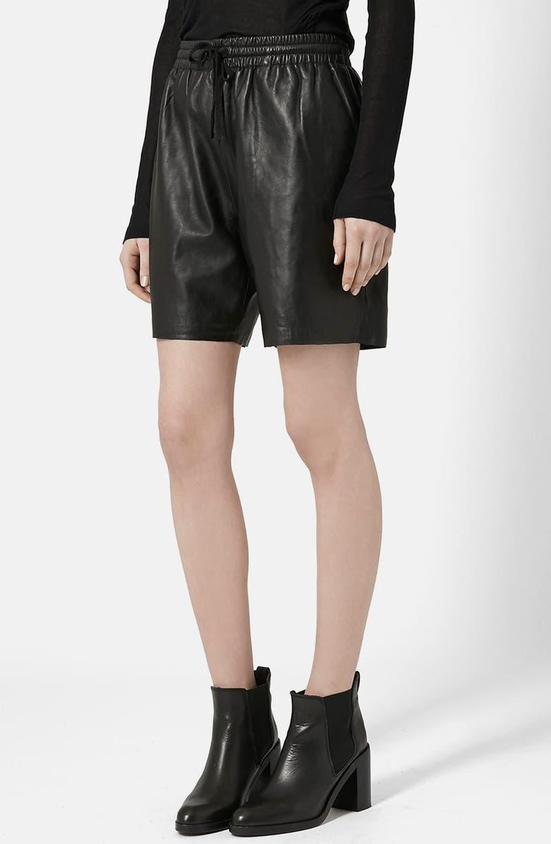 TOPSHOP BOUTIQUE Topshop Lambskin Leather Shorts, Main, color, 001