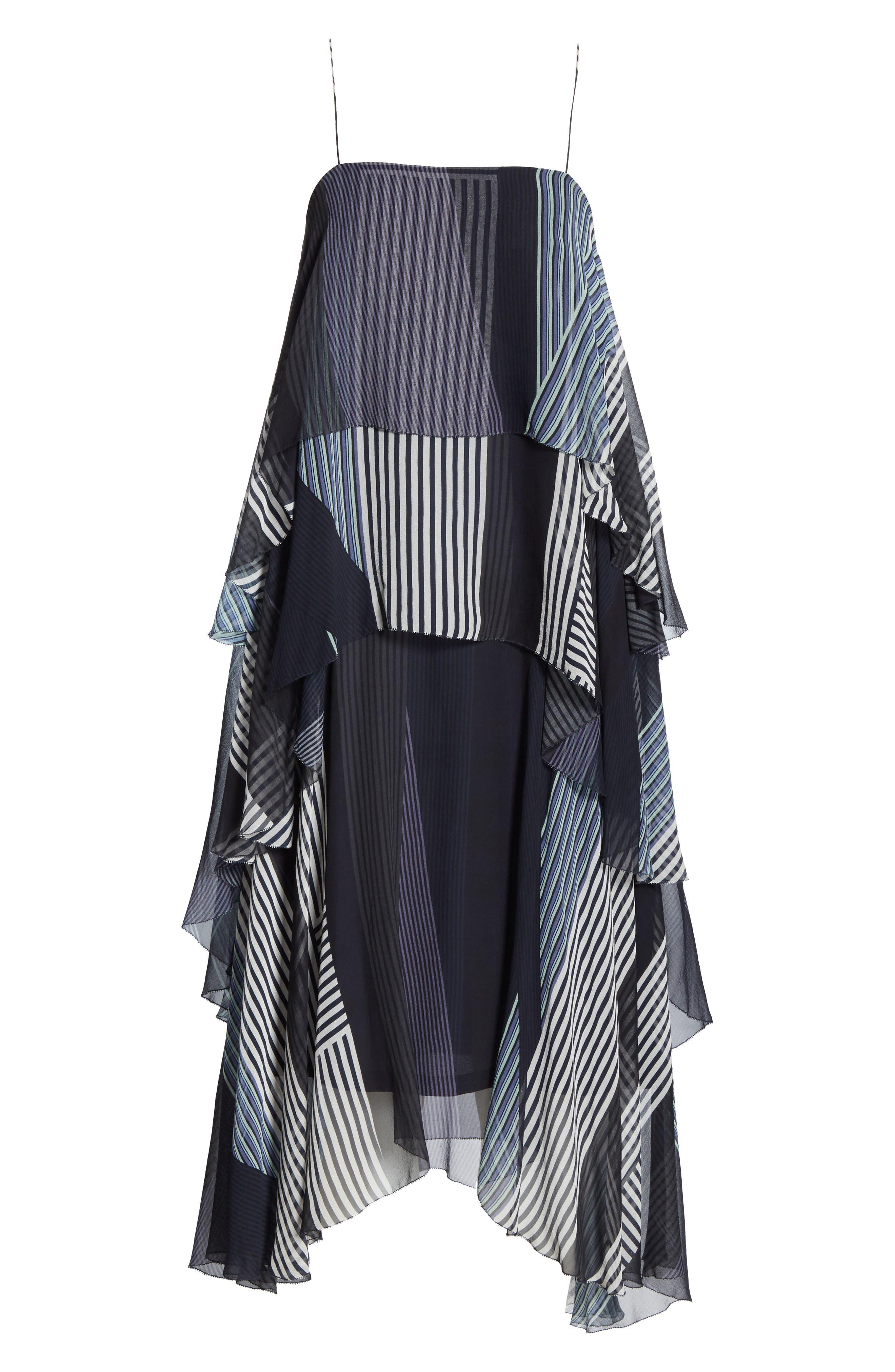 ,                             Collage Stripe Silk Tiered Dress,                             Alternate thumbnail 6, color,                             DARK NAVY MULTI