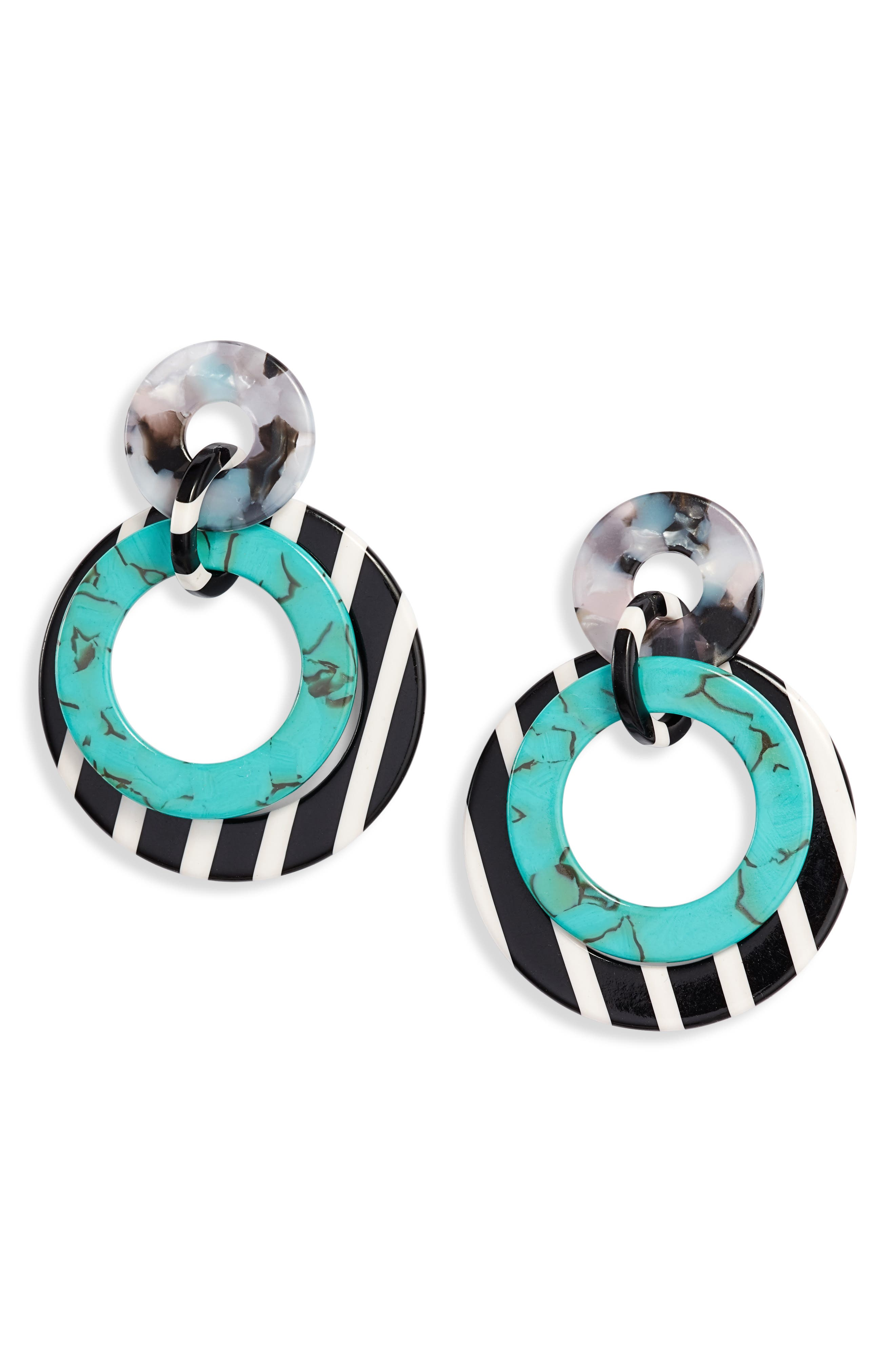 Banded Hoop Earrings, Main, color, TURQUOISE