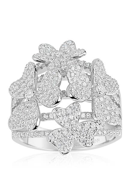 Image of Suzy Levian Sterling Silver CZ Multi Flower Ring