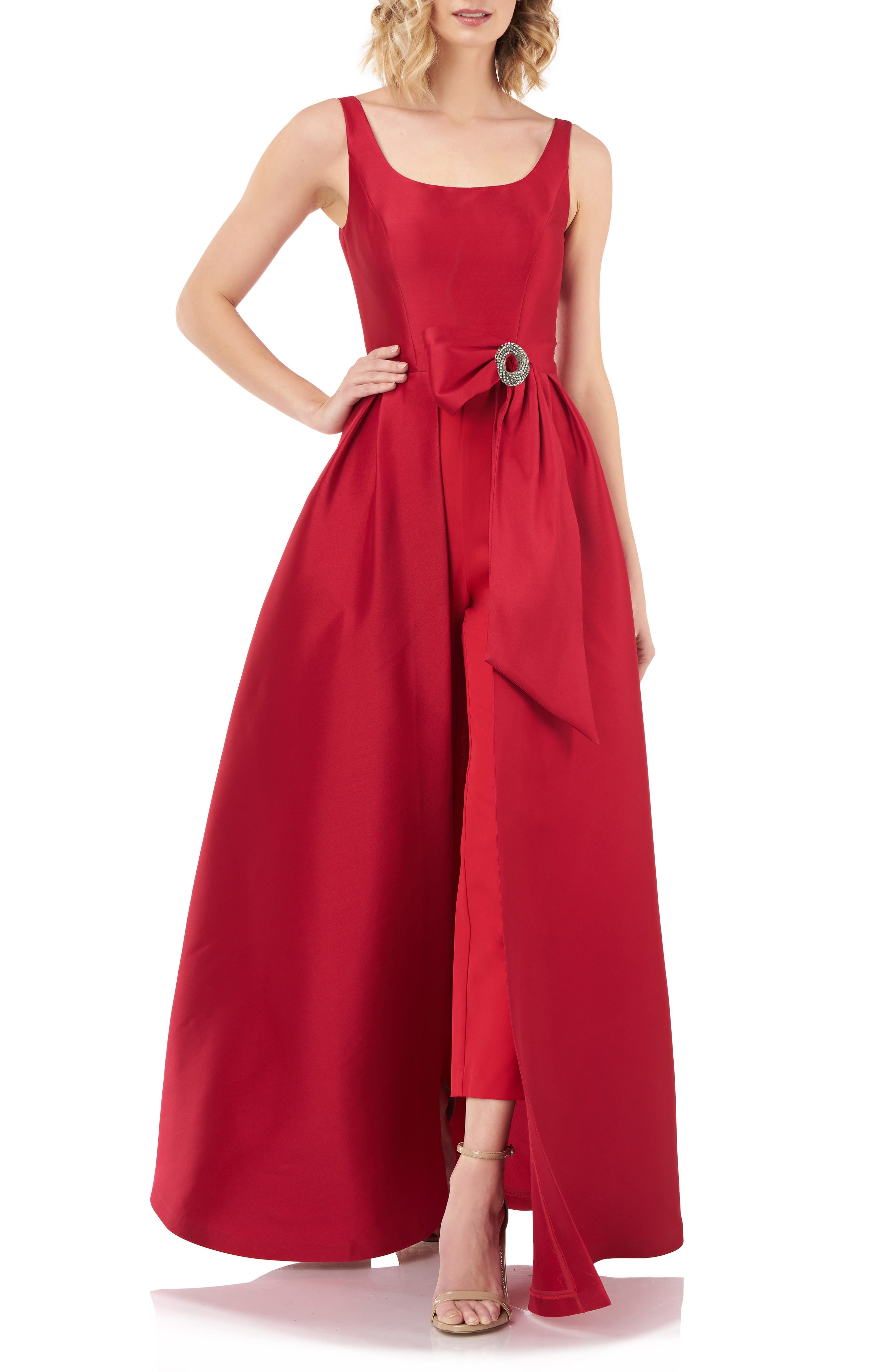 1950s Hostess Gown Pant Set- I Love Lucy Dress Womens Kay Unger Sophie Romper Gown Size 6 - Red $298.00 AT vintagedancer.com