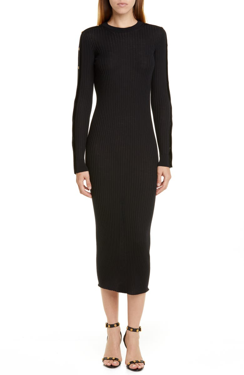 VERSACE Long Sleeve Wool Rib Midi Sweater Dress, Main, color, 001