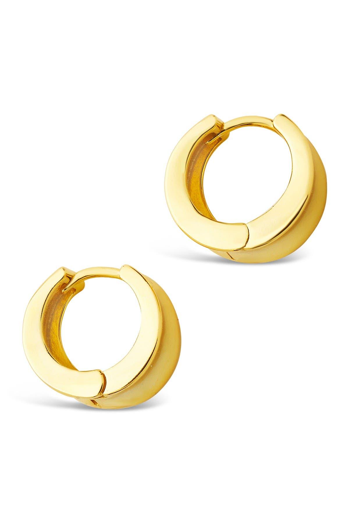 Yellow gold finish  huggie hoop created diamond earrings gift idea free postage