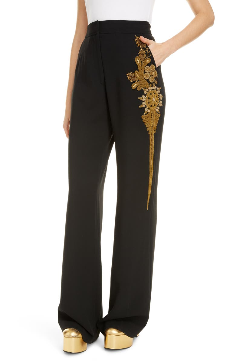 DRIES VAN NOTEN Pantery Embroidered Wide Leg Pants, Main, color, 001