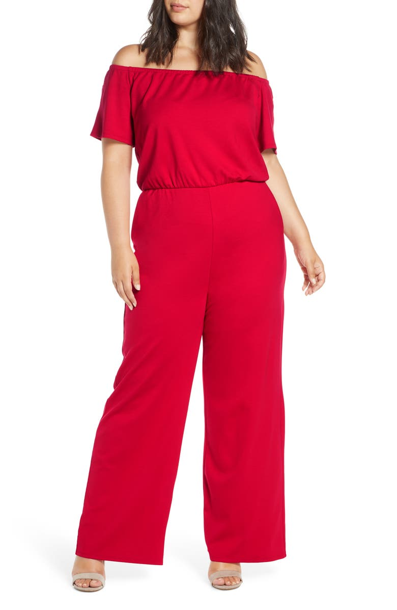 GIBSON x Living in Yellow City Safari Off the Shoulder Ponte Knit Jumpsuit, Main, color, RED SAFARI