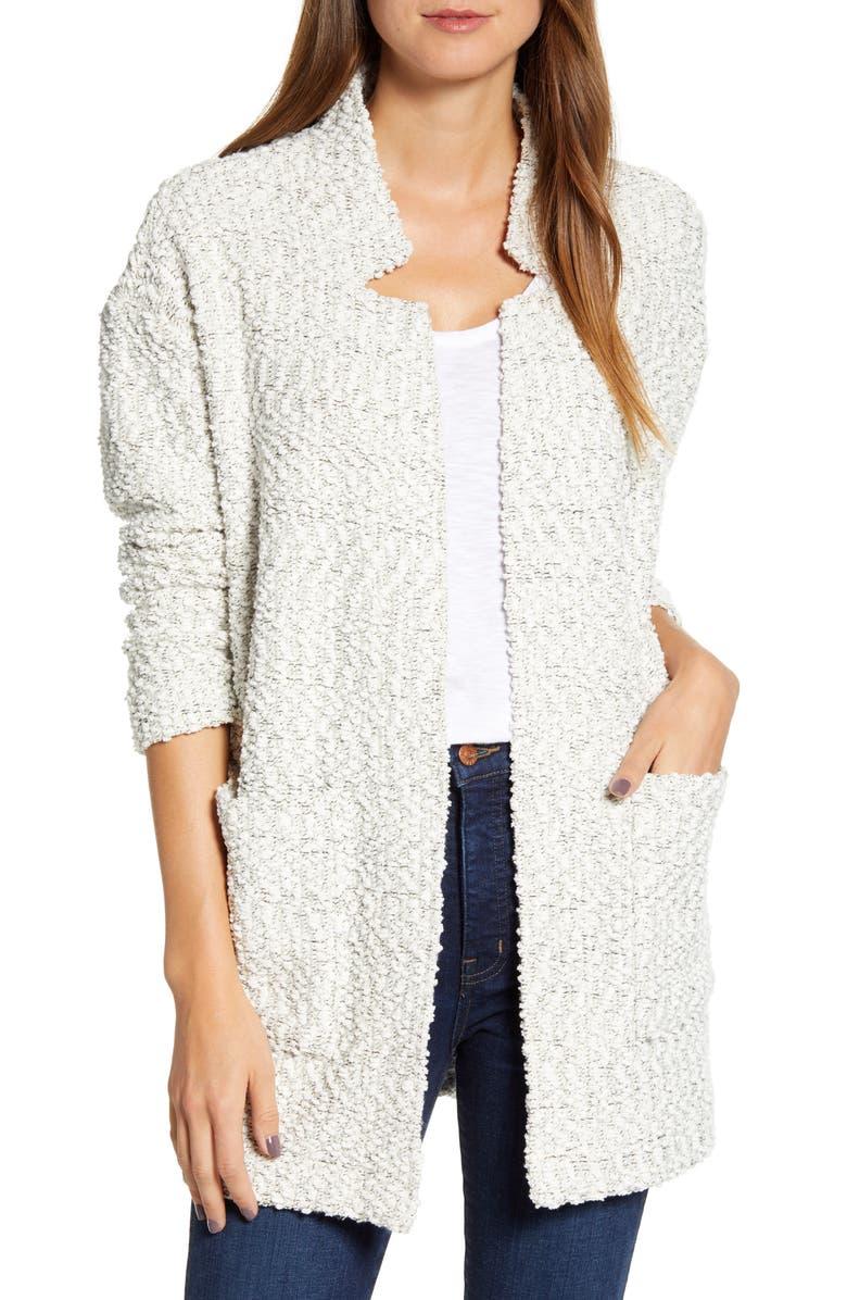 LOU & GREY Tweed Sweater Coat, Main, color, GREY MULTI