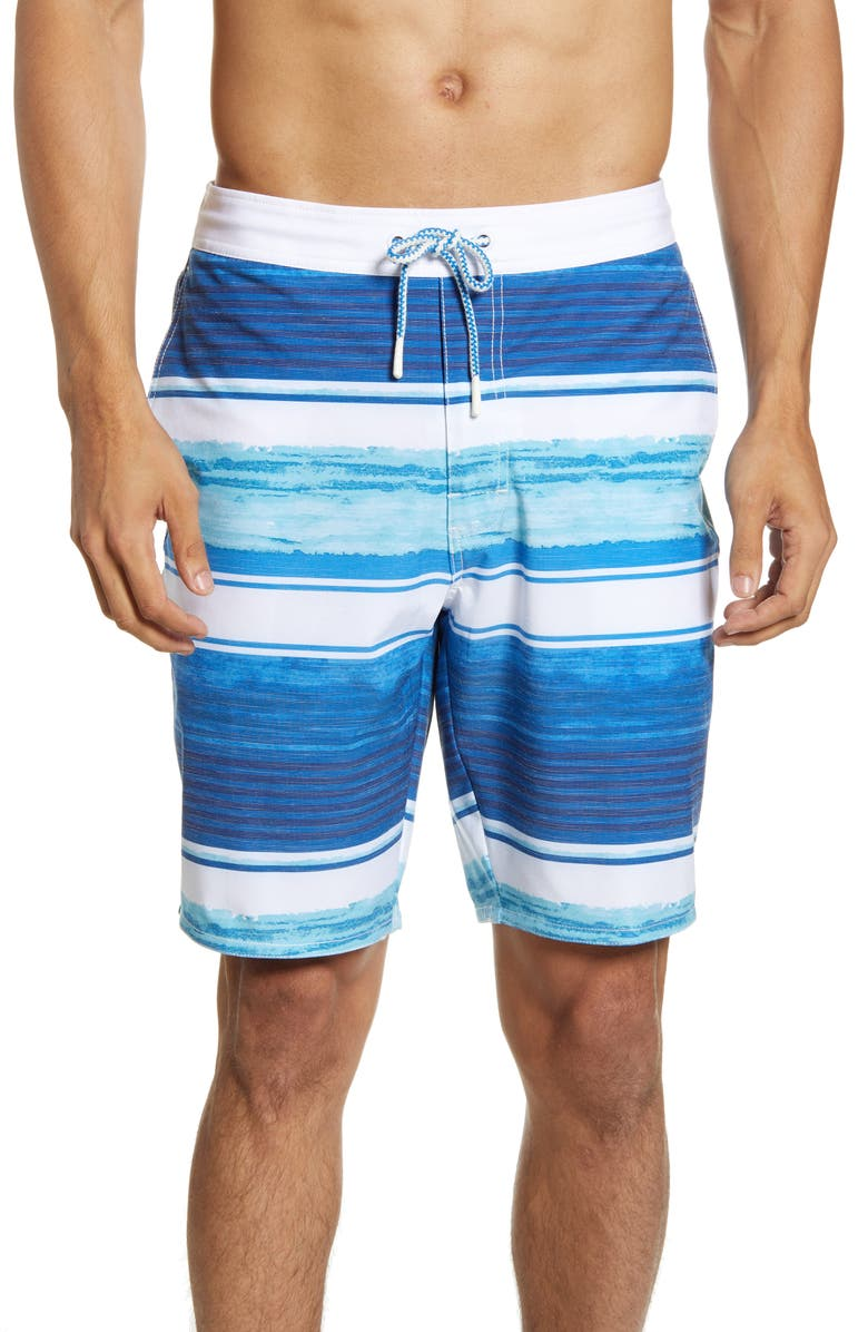 JOHNNIE-O Trellis Stripe Swim Trunks, Main, color, MARLIN