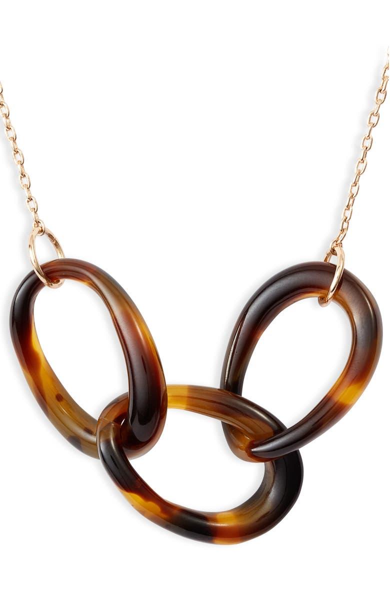 LELE SADOUGHI Interlocking Hoop Pendant Necklace, Main, color, LEOPARD