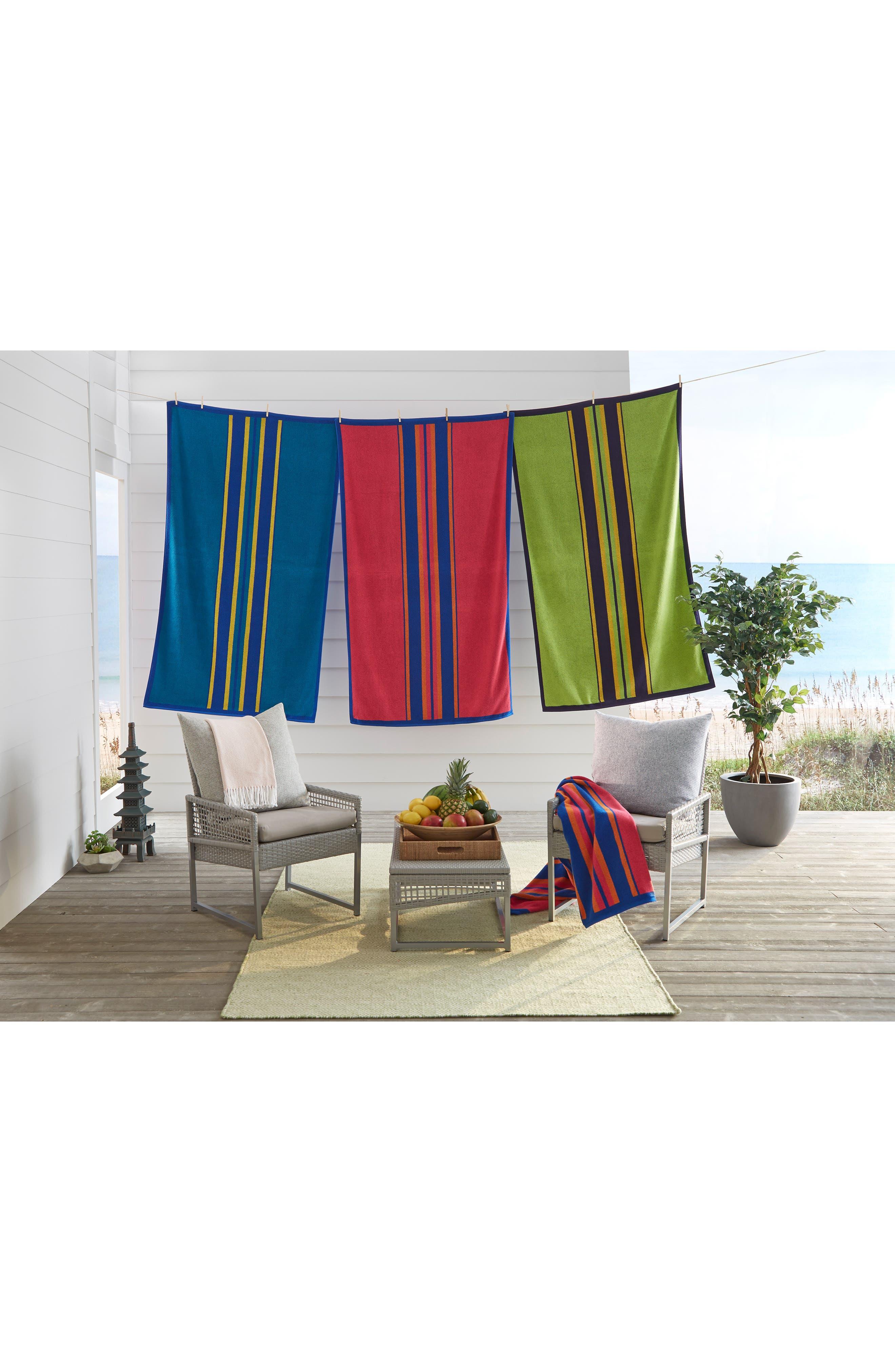 ,                             Kahana Stripe Beach Towel,                             Alternate thumbnail 3, color,                             RASPBERRY