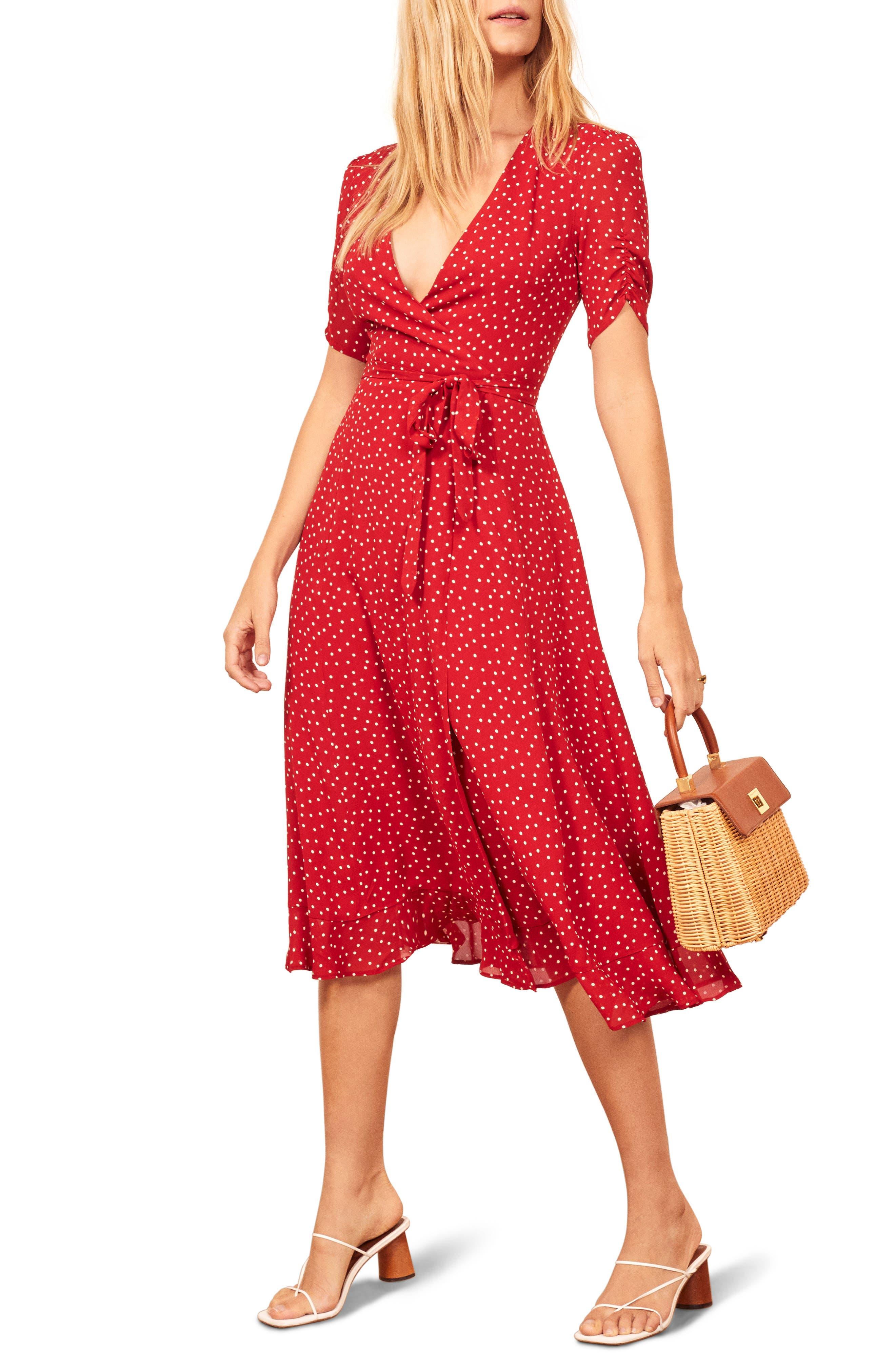 Reformation Napa Wrap Midi Dress, Red