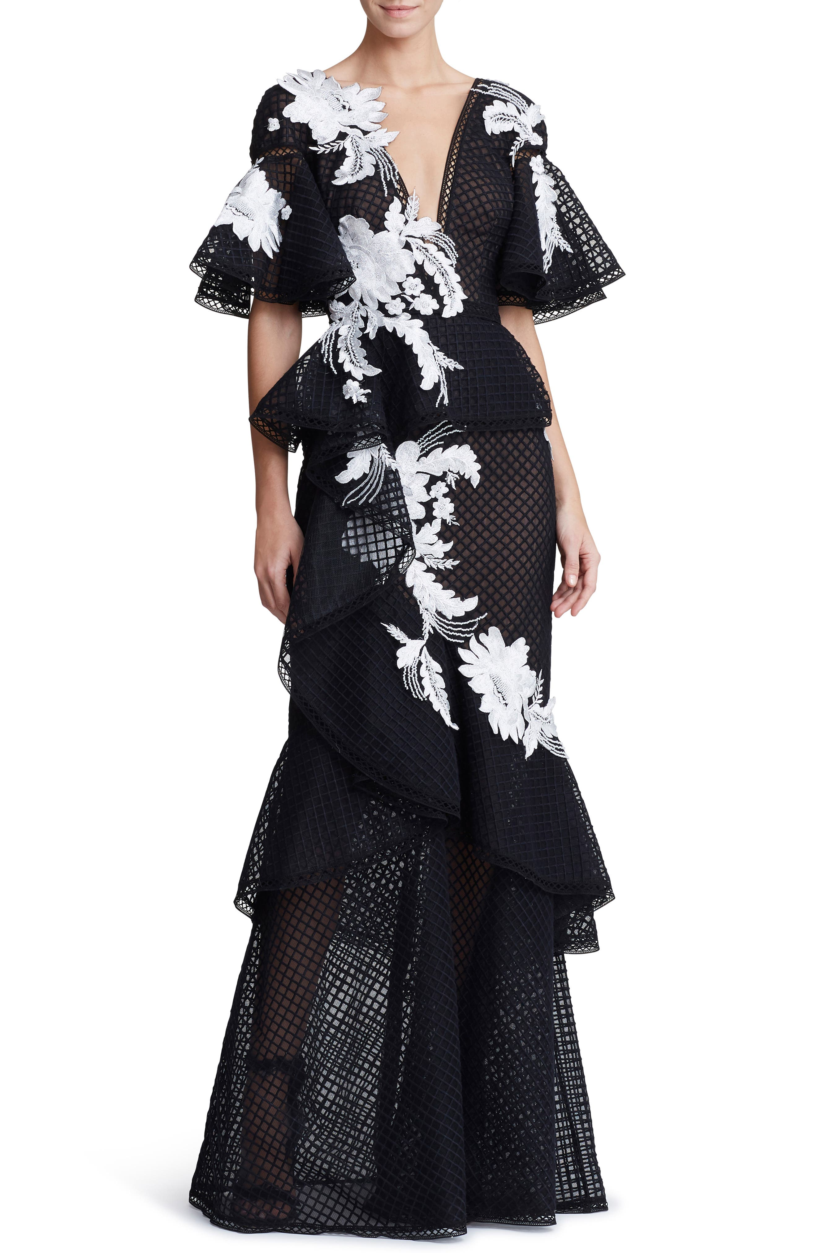 Marchesa Embroidered V-Neck Ruffle Gown, Black