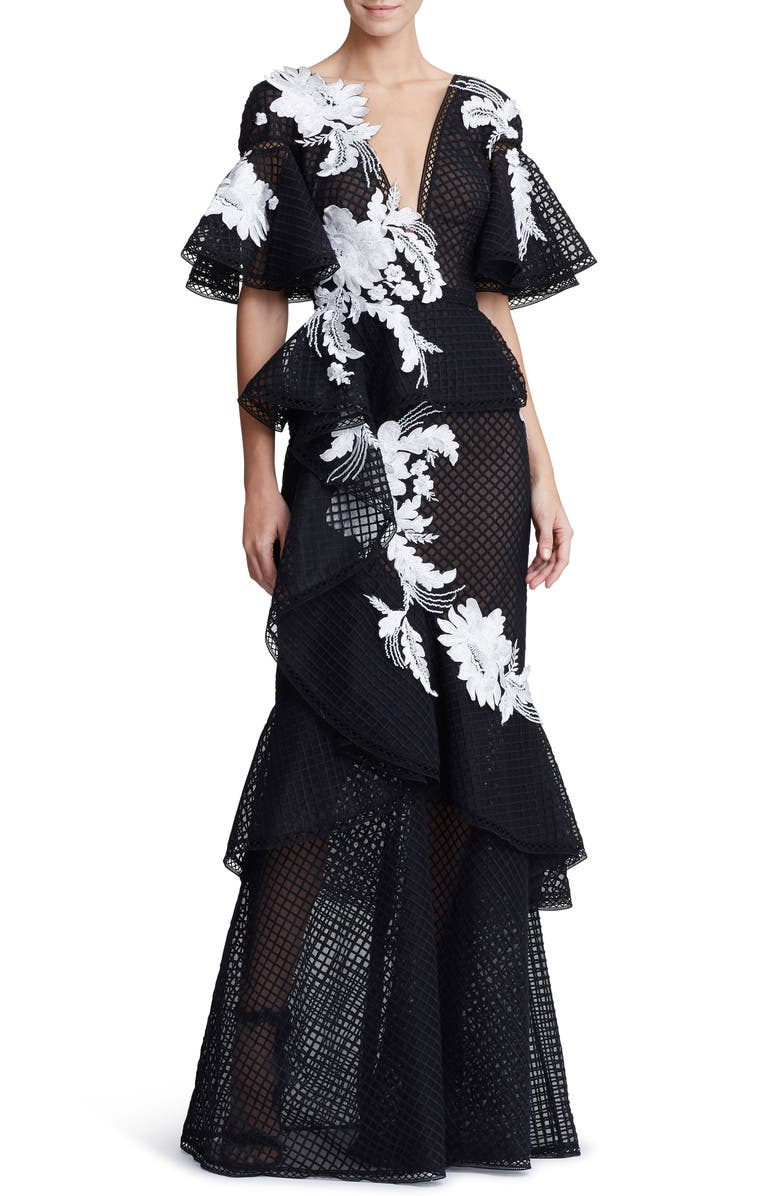 MARCHESA Embroidered V-Neck Ruffle Gown, Main, color, BLACK