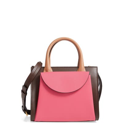 Marni Small Law Colorblock Leather Top Handle Satchel - Pink