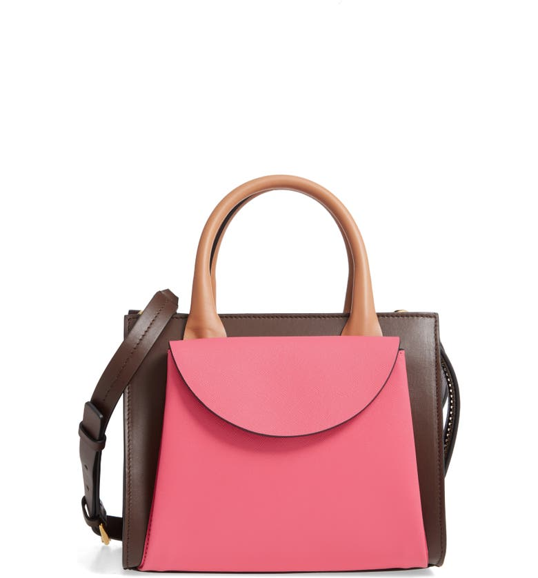 MARNI Small Law Colorblock Leather Top Handle Satchel, Main, color, FUSCHIA/ DARK CHOCOLATE