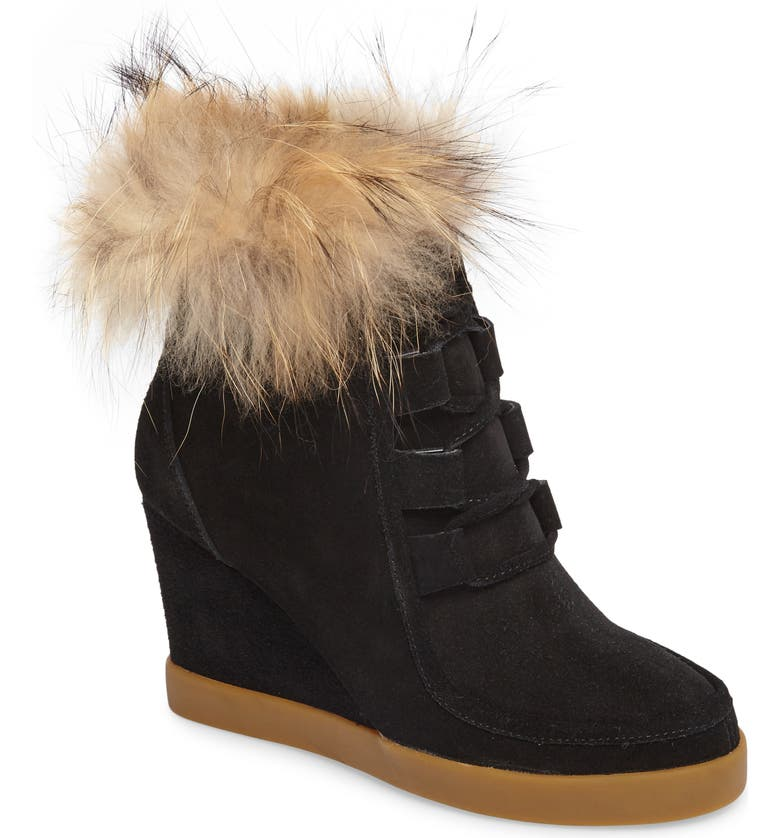 CECELIA NEW YORK Holly Wedge Bootie with Genuine Fox Fur Trim, Main, color, BLACK SUEDE
