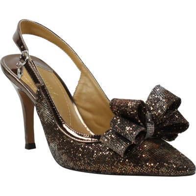 J. Renee Charise Bow Pointed Toe Slingback Pump B - Brown