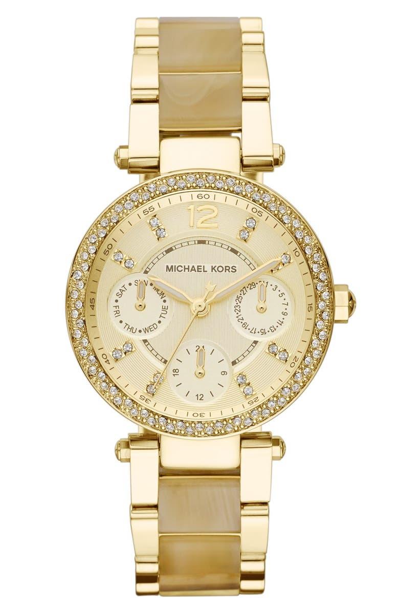 MICHAEL MICHAEL KORS Michael Kors 'Mini Parker' Crystal Bezel Bracelet Watch, 33mm, Main, color, 710