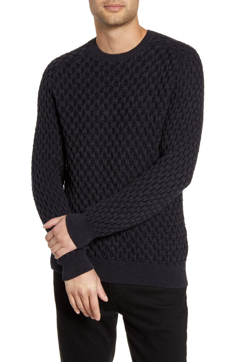 BOSS Akalbe Crewneck Cotton Blend Sweater, Main, color, 022