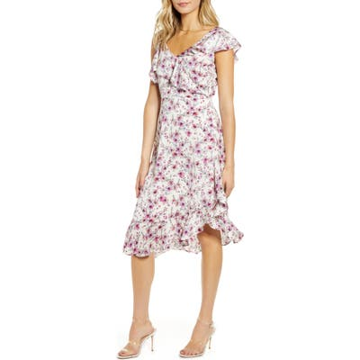 Cupcakes And Cashmere The Delphia Floral Print Asymmetrical Dress, Ivory