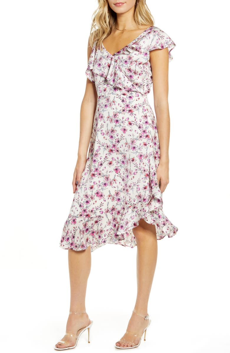 CUPCAKES AND CASHMERE The Delphia Floral Print Asymmetrical Dress, Main, color, 900