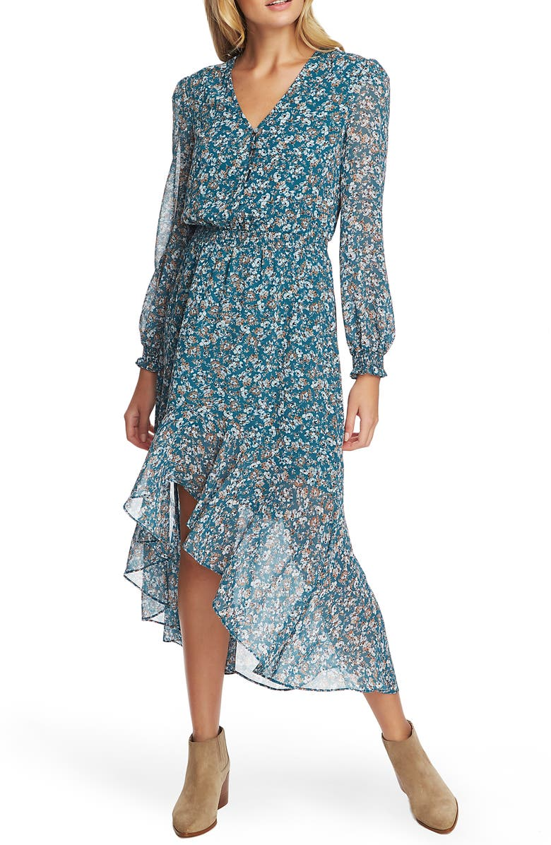 1.STATE Woodland Floral Long Sleeve Dress, Main, color, VERDI EMERALD MULTI