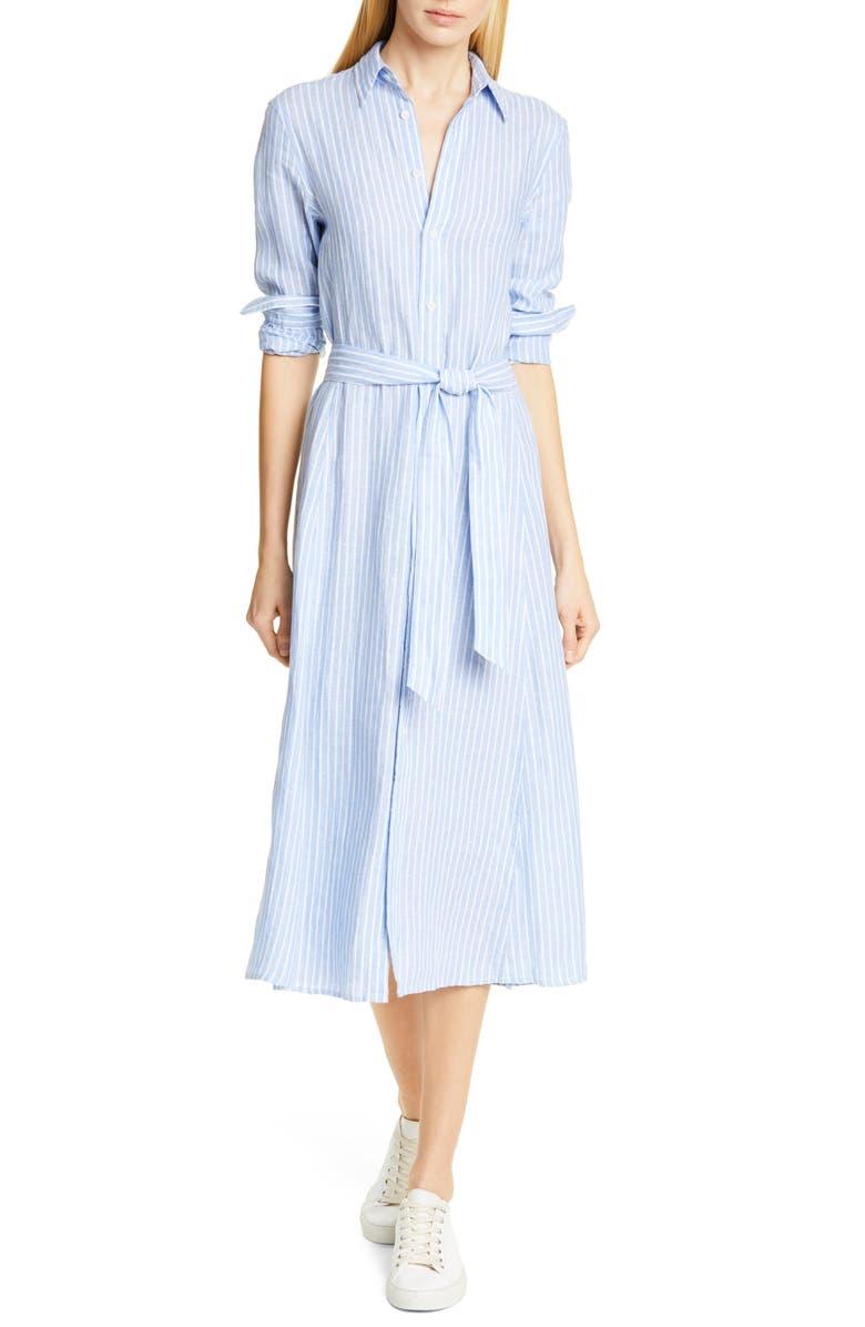 POLO RALPH LAUREN Ashton Long Sleeve Linen Shirtdress, Main, color, 400