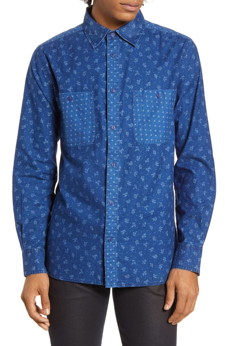 BARKING IRONS x Bob Dylan Desire Floral Button-Up Shirt, Main, color, EAST INDIGO