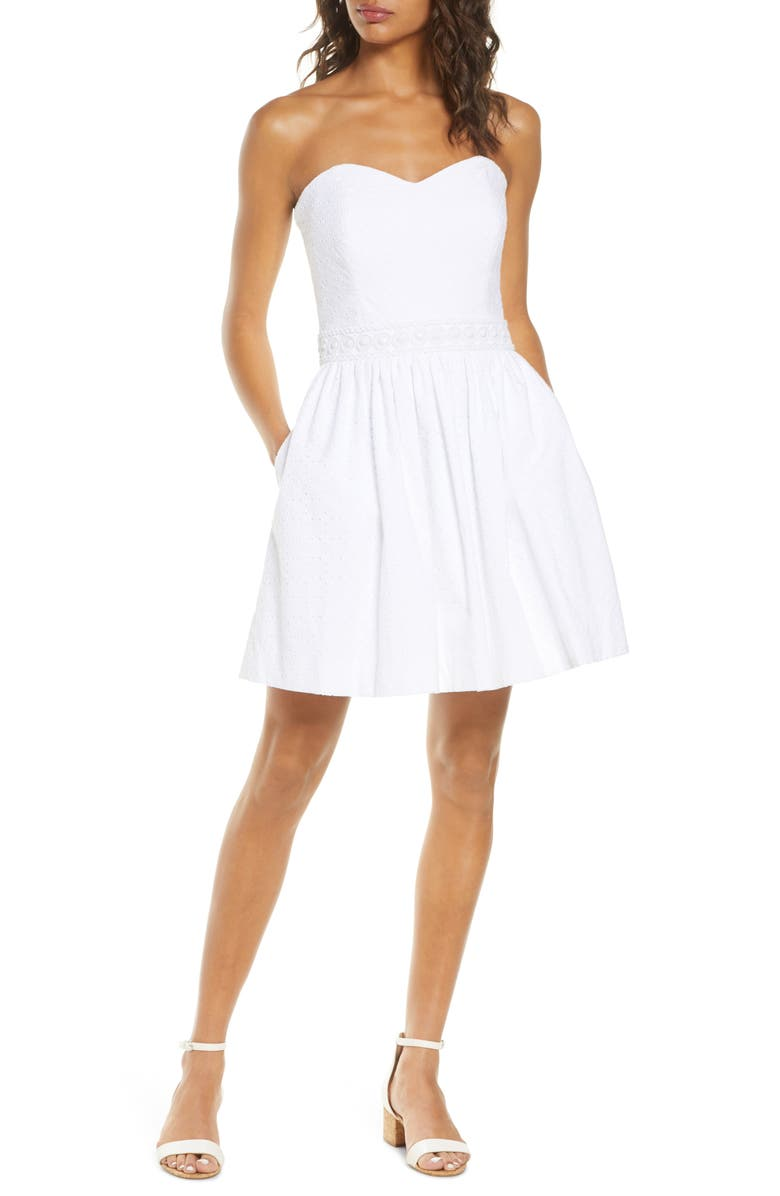 LILLY PULITZER<SUP>®</SUP> Marta Strapless Eyelet Sundress, Main, color, RESORT WHI