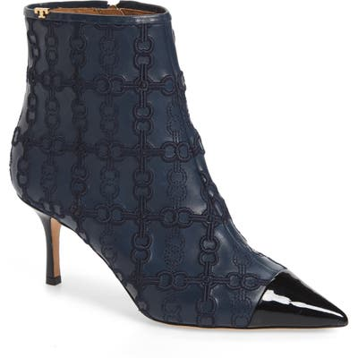 Tory Burch Penelope Embroidered Bootie, Blue/green