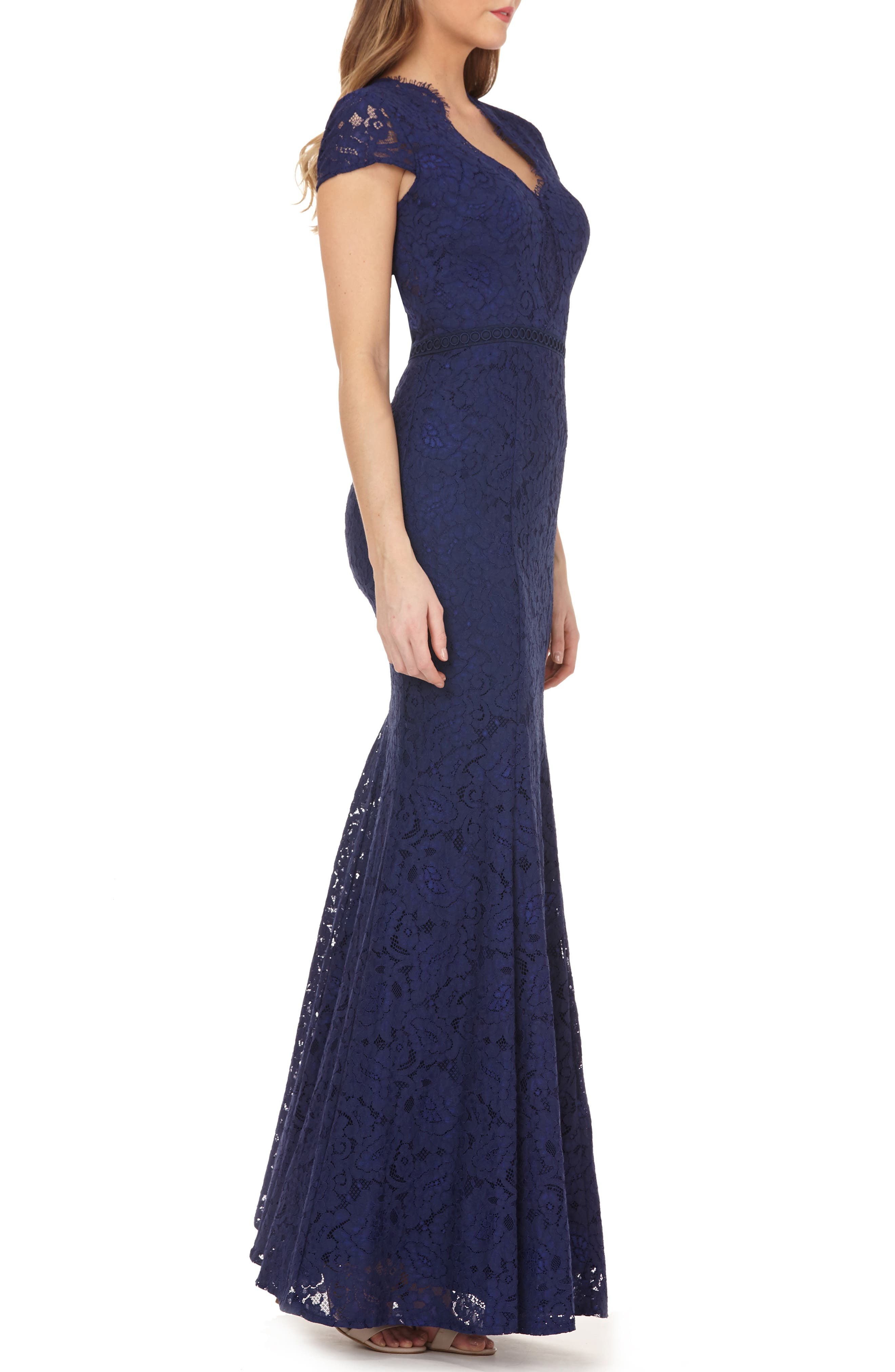 ,                             Lace Mermaid Gown,                             Alternate thumbnail 4, color,                             NAVY