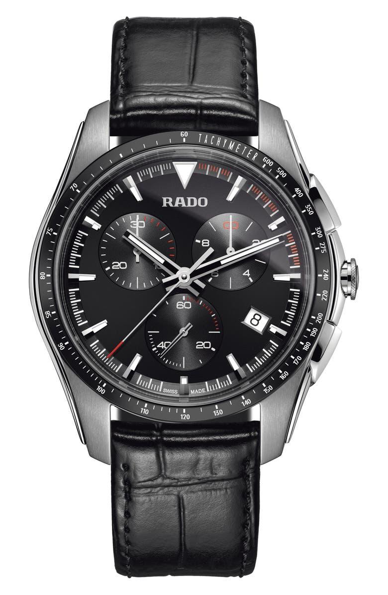 RADO HyperChrome Chronograph Leather Strap Watch, 45mm, Main, color, 001