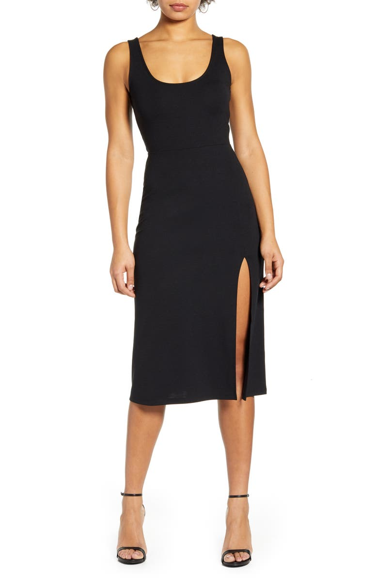 LEITH Scoop Neck Midi Dress, Main, color, 001