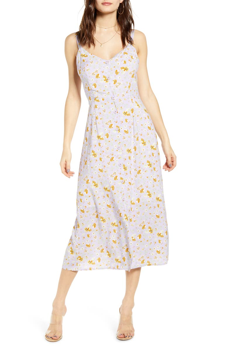ALL IN FAVOR Button Front Midi Sundress, Main, color, 569