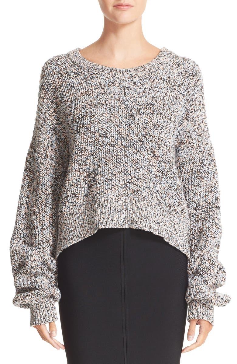 ALEXANDERWANG.T T by Alexander Wang Crop Cotton Sweater, Main, color, 400