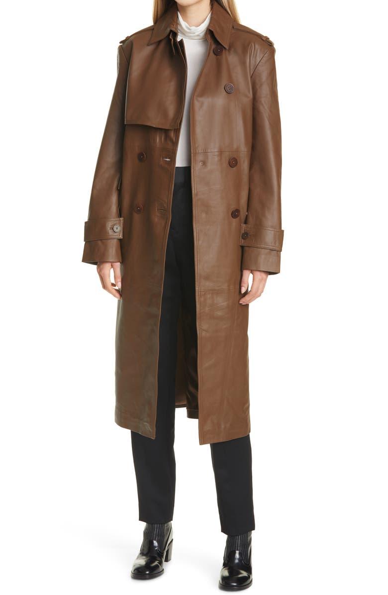 REMAIN BIRGER CHRISTENSEN Pirello Leather Trench Coat, Main, color, BISON