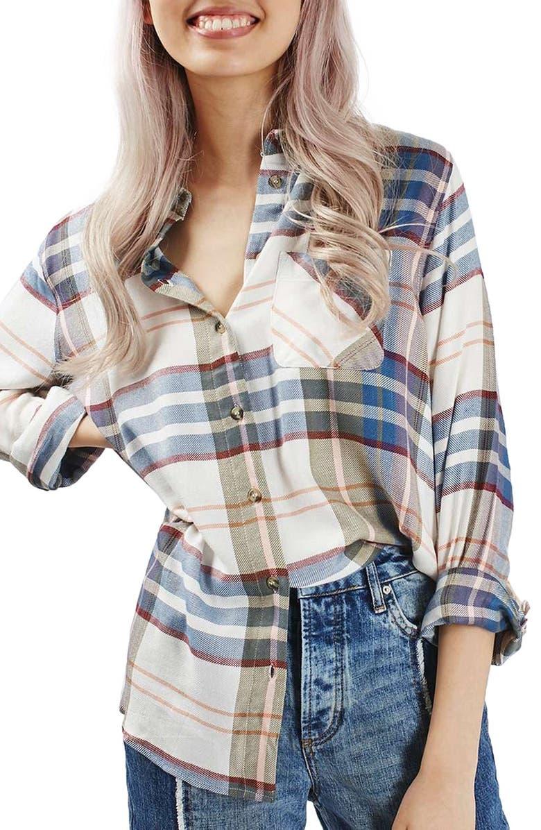 TOPSHOP Chest Pocket Plaid Shirt, Main, color, IVORY MULTI
