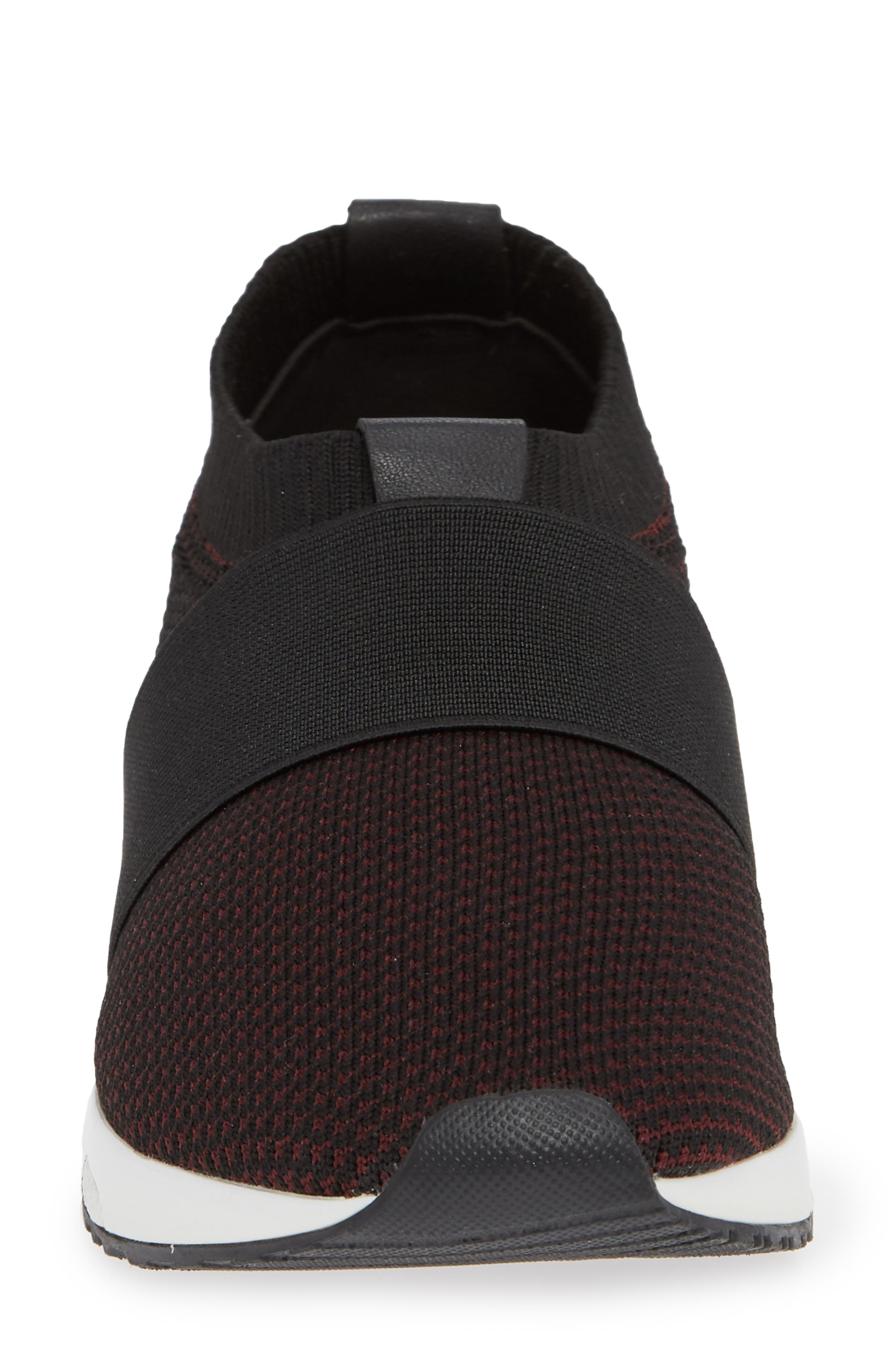 ,                             Brooke Slip-On Sneaker,                             Alternate thumbnail 4, color,                             BLACK/ WINE KNIT FABRIC