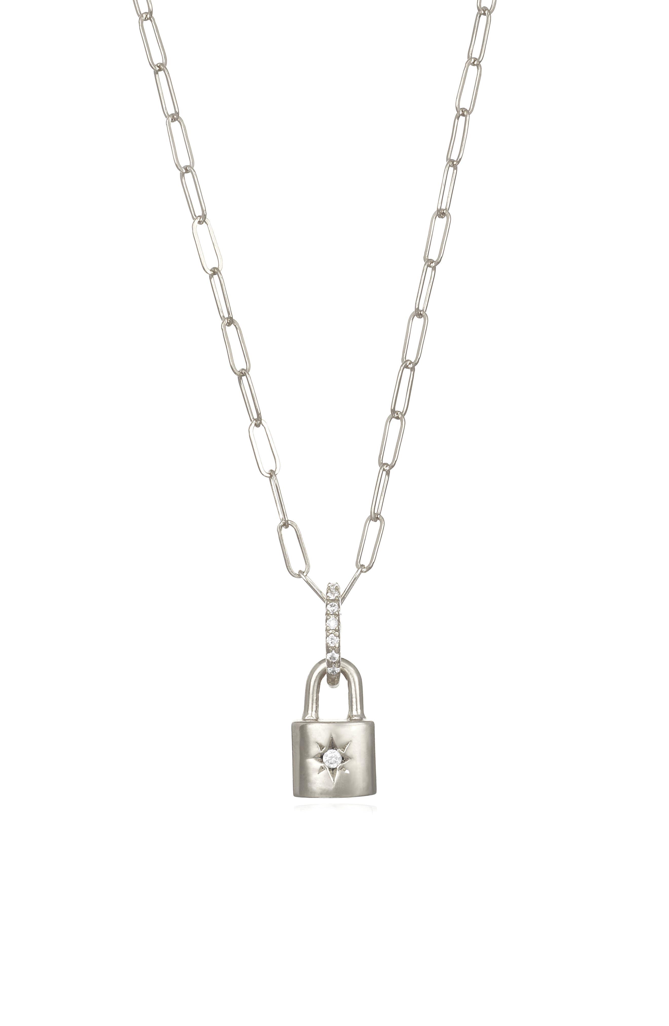 Amelia Rose Starburst Padlock Pendant Necklace in Silver at Nordstrom