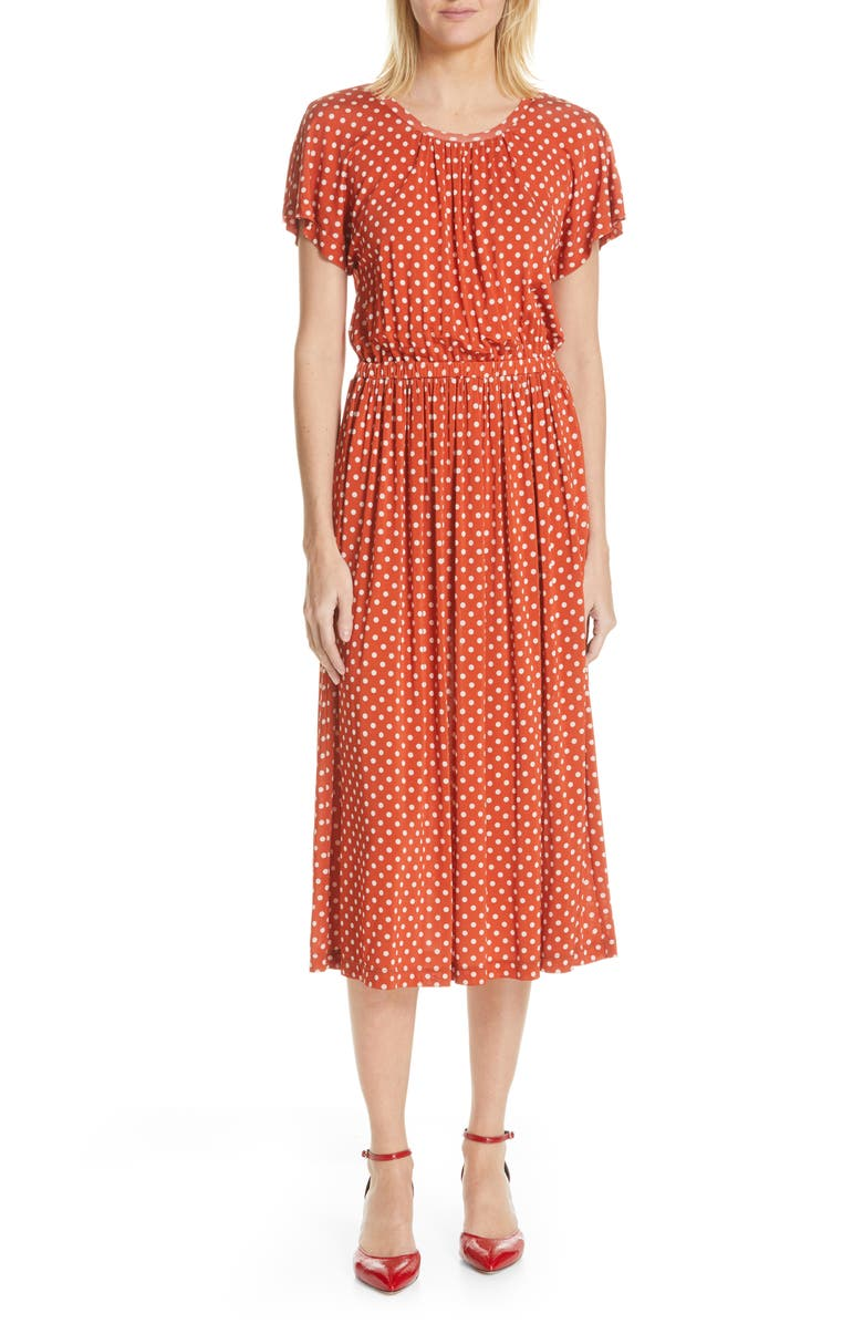 STINE GOYA Caitlin Polka Dot Midi Dress, Main, color, 600